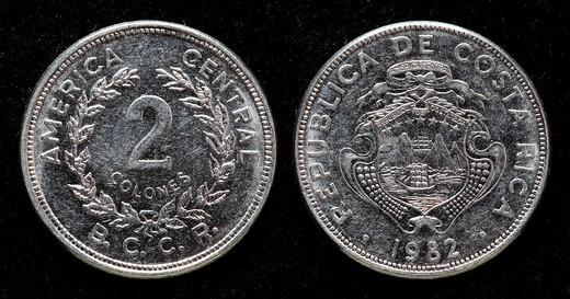 Stock Photo: 1566-906717 2 Colones coin, Costa Rica, 1982