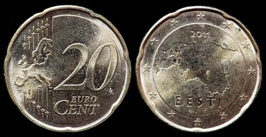 20 Euro cent coin, Estonia, 2011 : Stock Photo