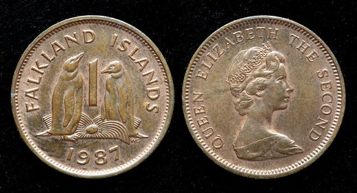 1 penny coin, Falkland islands, 1987 : Stock Photo