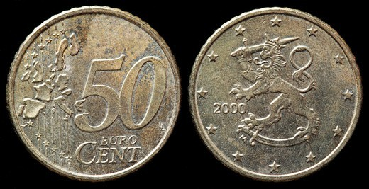 Stock Photo: 1566-906722 50 Euro cent coin, Finland, 2000