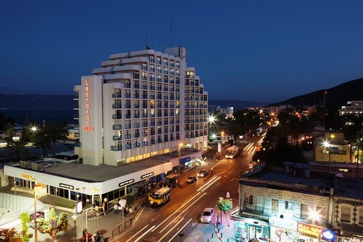 Stock Photo: 1566-906875 Israel, The Galilee, Tiberias, HaBanin Street and Leonardo Club Hotel, dusk