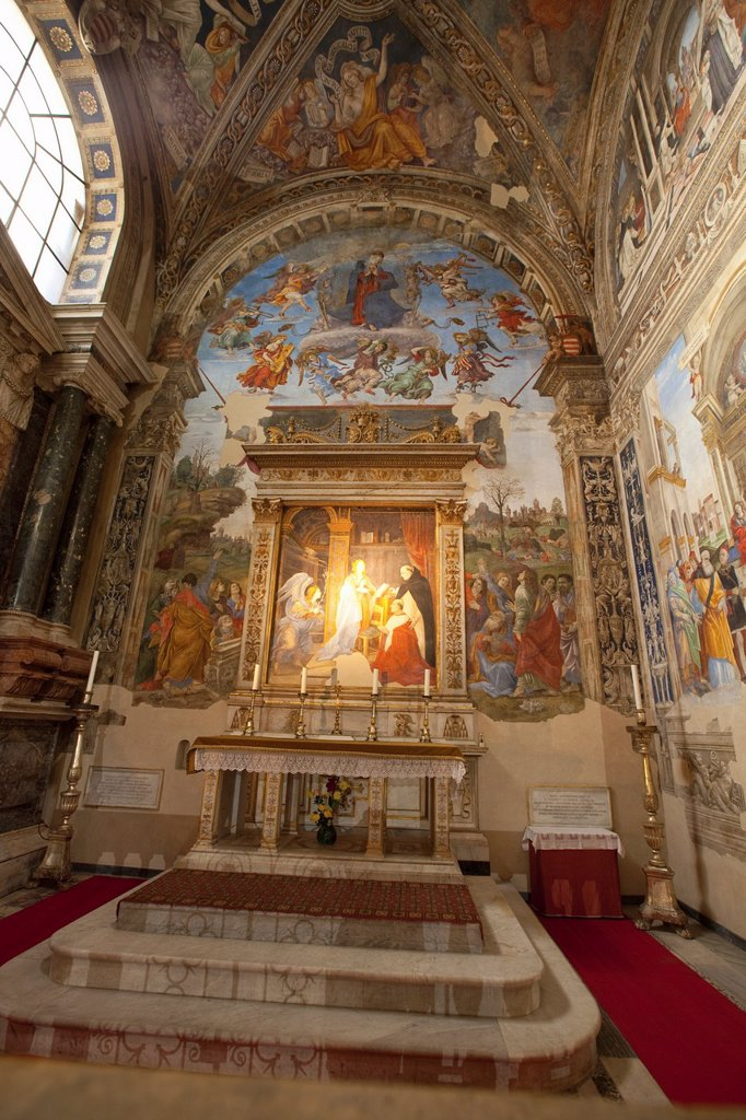 Stock Photo: 1566-907214 The Carafa Chapel painted by Filippino Lippi in the Basilica of Saint Mary Above Minerva, Rome, Lazio, Italy, Europe