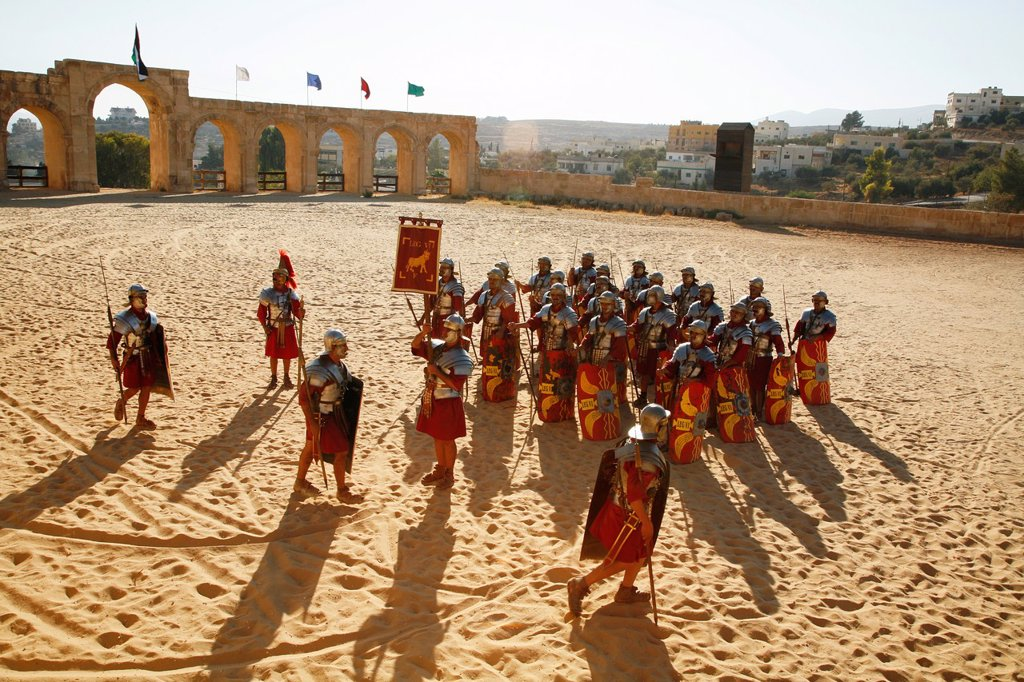Stock Photo: 1566-907254 Roman Army show at the Hippodrome, Jerash, Jordan
