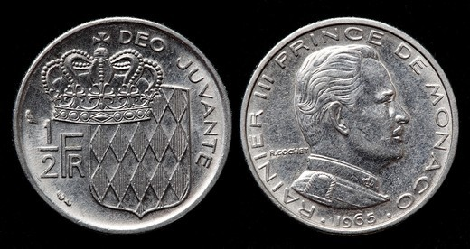 half Franc coin, Monaco, 1965 : Stock Photo