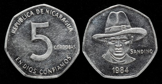 Stock Photo: 1566-907794 5 cordobas coin, Nicaragua, 1984