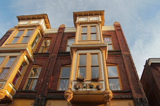 Windows of an old building in Schenectady, New York, United States : Stock Photo
