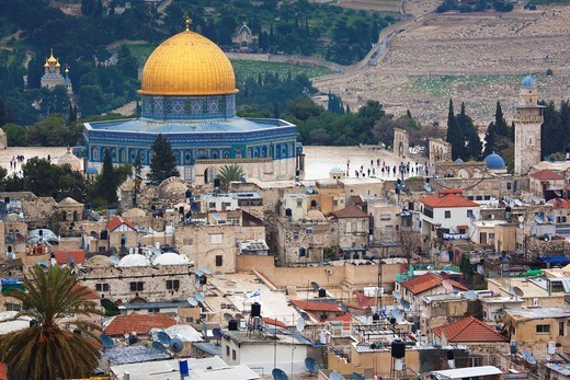 Stock Photo: 1566-907988 Israel, Jerusalem, Old City, Christian Quarter, elevated view Temple Mount and Dome of the Rock from the west