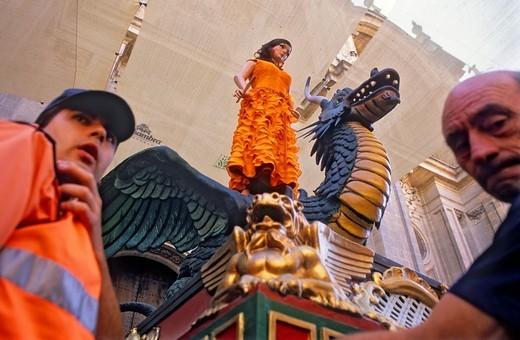 Corpus Christi procession,Tarasca,in plaza Pasiegas, Granada, Andalucia, Spain : Stock Photo