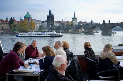 Cafe beside River Vltava in Prague in Czech Republic : Stock Photo