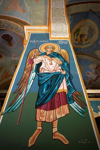 Israel, The Galilee, Nazareth, Saint Gabriels Greek Orthodox Church, religious painting of Saint Michael : Stock Photo