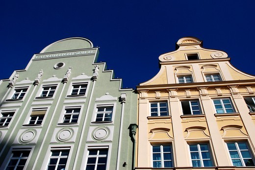 Renovated old houses in Augsburg : Stock Photo