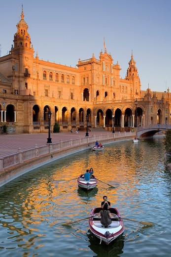 boats in Plaza de España,Maria Luisa Park, Sevilla,Andalucía, Spain : Stock Photo