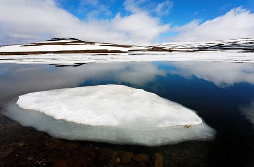 Ice and reflections in a lake, Eastern Fjords, Iceland : Stock Photo