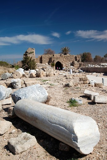 Stock Photo: 1566-909449 Israel, North Coast, Caesarea ruins of port built by Herod the Great in 22 BC