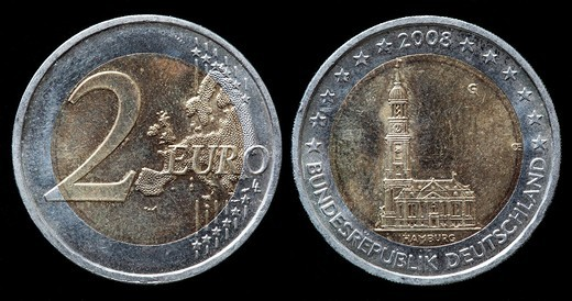 2 Euro coin, Hamburg, Germany, 2008 : Stock Photo