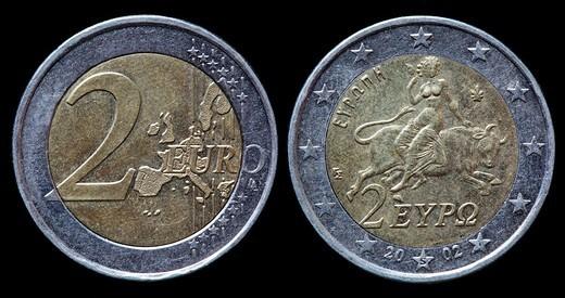 2 Euro coin, Greece, 2002 : Stock Photo