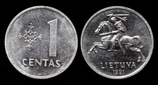 1 Centas coin, Lithuania, 1991 : Stock Photo