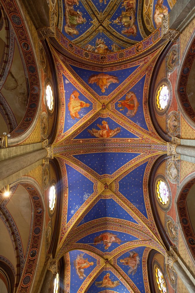 The ceiling of the Basilica of Saint Mary Above Minerva, Rome, Lazio, Italy, Europe : Stock Photo