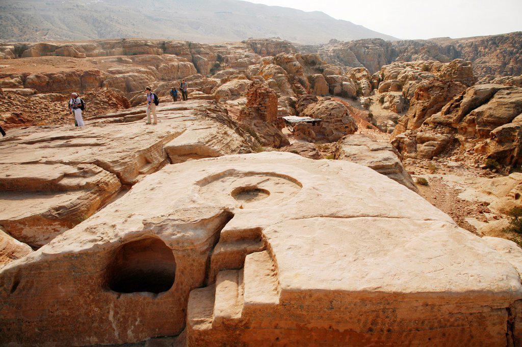 The altar of the High Place of Sacrifice, Petra, Jordan : Stock Photo