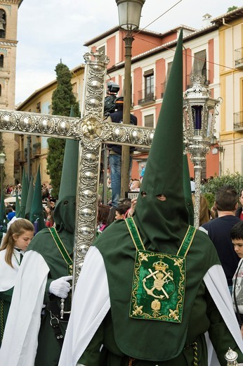 Stock Photo: 1566-910838 Nazarenos, member of a procession during Easter week, holy Tuesday, Granada, Andalusia, Spain