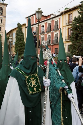 Nazarenos, member of a procession during Easter week, holy Tuesday, Granada, Andalusia, Spain : Stock Photo