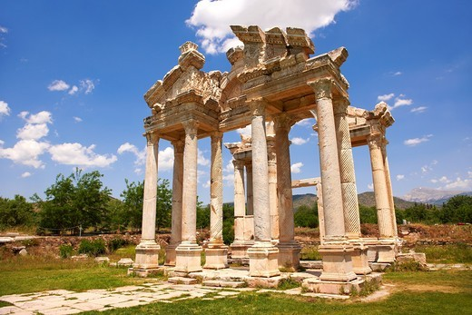 Picture of the double Tetrapylon Gate, Aphrodisias, Turkey  A tetrapylon Greek: etp, ´four gates´ is an ancient type of Roman monument of cubic shape, with a gate on each of the four sides: generally it was built on a crossroads  stock photos & photo art. Picture of the double Tetrapylon Gate, Aphrodisias, Turkey  A tetrapylon Greek: etp, ´four gates´ is an ancient type of Roman monument of cubic shape, with a gate on each of the four sides: generally it was built on a crossroads  stock photos & : Stock Photo