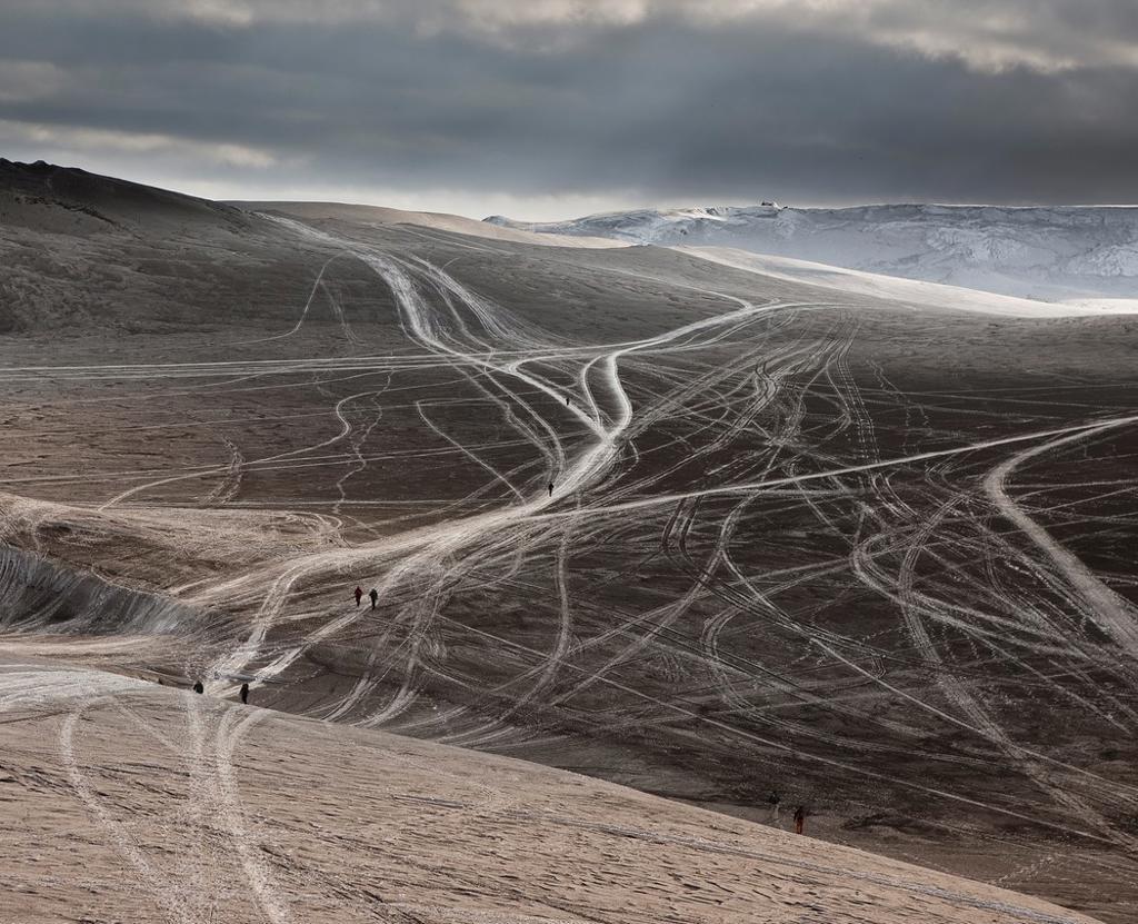 Tracks in ash from Eyjafjallajokull volcano eruption, Iceland Spring 2010 : Stock Photo
