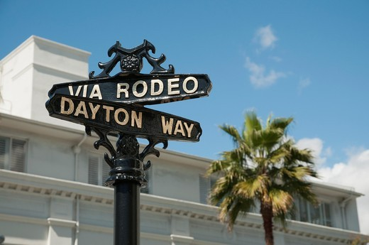 Rodeo Way and Dayton cross intersection road street indicators, Beverly Hills, Los Angeles, US : Stock Photo