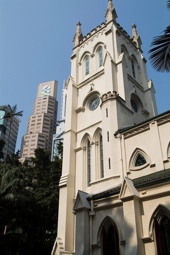 Stock Photo: 1566-911668 St Johns Cathedral CENTRAL HONG KONG Rooftops Anglican Episcopalian church and Hong Kong bank building