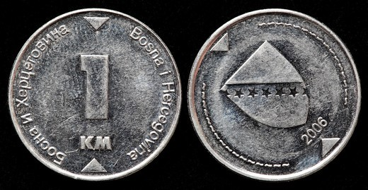 1 Convertible Marka coin, Bosnia and Herzegovina, 2006 : Stock Photo