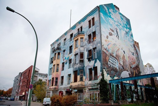Mural on the Tommy Weisbecker haus community center facade, Kreuzberg, Berlin, Germany, Europe : Stock Photo
