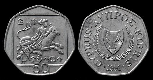 50 cents coin, Cyprus, 1991 : Stock Photo