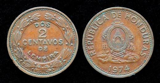 2 Centavos coin, Honduras, 1974 : Stock Photo