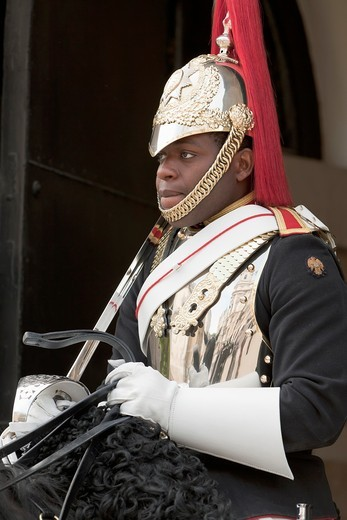 A member of the Queen´s Household Cavalry guarding the Horse Guard Building in Whitehall, London, England : Stock Photo