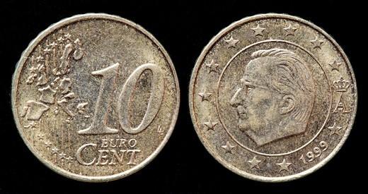 10 euro cent coin, Belgium, 1999 : Stock Photo