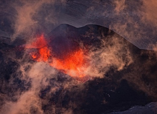 Lava fountains-Volcano eruption at Fimmvorduhals, a ridge between Eyjafjallajokull glacier, and Myrdalsjokull, Iceland 2010 : Stock Photo