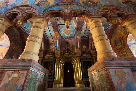 Russia, Yaroslavl Oblast, Golden Ring, Rostov-Veliky, Rostov Kremlin, Church of the Saviour-over-the-Galleries, interior frescoes : Stock Photo