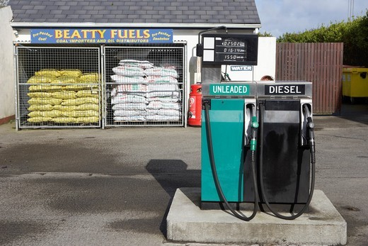 small local rural petrol pumps and fuel station in republic of ireland : Stock Photo