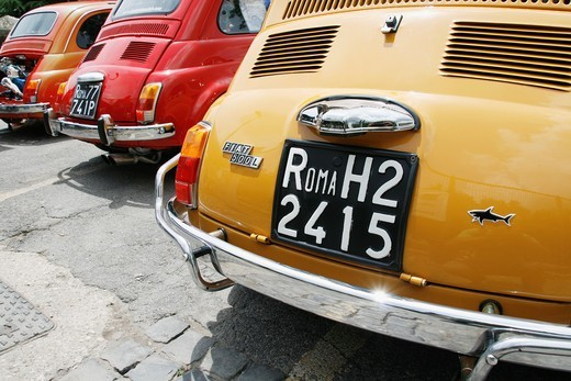 Stock Photo: 1566-913559 fiat 500 cars in street in rome italy