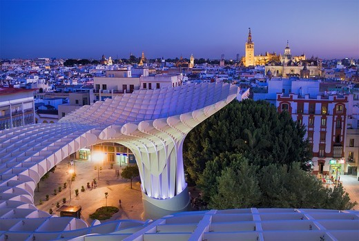To of Metropol Parasol, in background the cathedral,from Plaza de la Encarnación,Sevilla,Andalucía,Spain : Stock Photo
