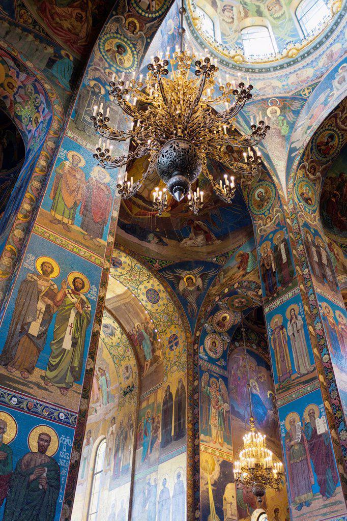 Russia, Saint Petersburg, Center, Church of the Saviour of Spilled Blood, interior glass mosaics : Stock Photo