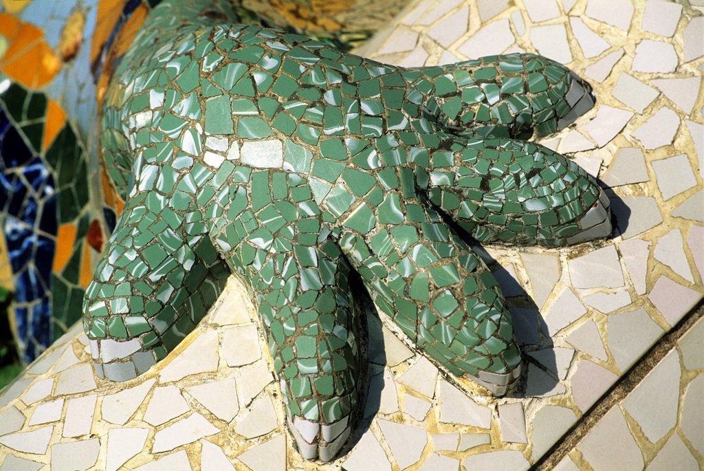 the Salamander in the Park Guell designed by the Catalan architect Antoni Gaudi, Barcelona, Catalonia, Spain, Europe : Stock Photo