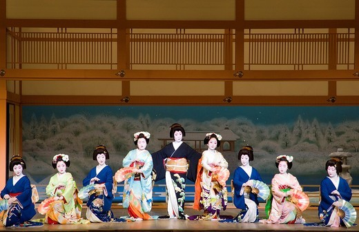 Stock Photo: 1566-914238 Geisha at the Kaburenjo Theatre Gion Kyoto  Traditional celebration of Spring dances  Geisha demonstrating one of their traditional art accomplishments
