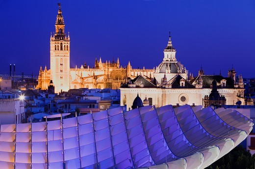 Top of Metropol Parasol and the cathedral,from Plaza de la Encarnación,Sevilla,Andalucía,Spain : Stock Photo