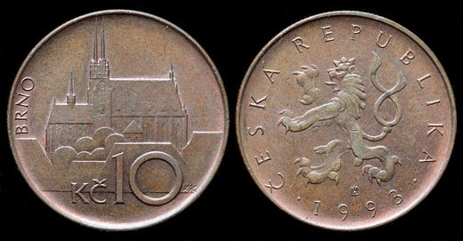 10 Korun coin, Czech republic, 1993 : Stock Photo