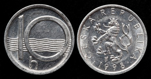 10 Haleru coin, Czech republic, 1998 : Stock Photo