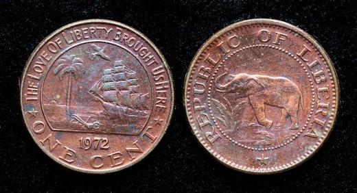1 cent coin, Liberia, 1972 : Stock Photo