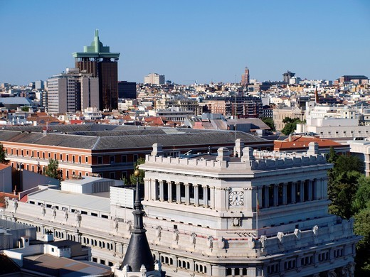 Building of the Caryatids and Torres de Colon seen from the roof of the Circulo de Bellas Artes, Madrid, Spain : Stock Photo