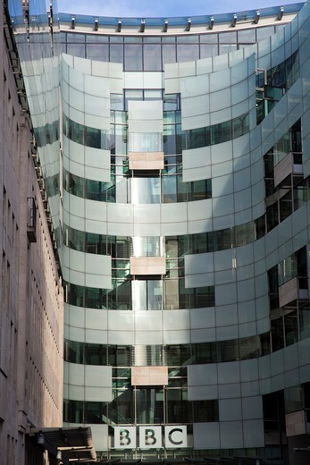 Modern section of Broadcasting House on Langham Place in London UK : Stock Photo