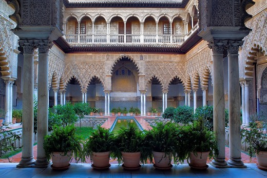 Stock Photo: 1566-915686 Royal Alcazar,'Patio de las Doncellas', Courtyard of the maidens, Seville, Andalusia, Spain